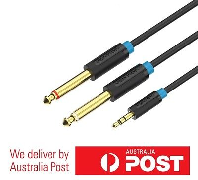 3.5mm to Dual 6.5mm Aux Cable - Gold Plated - 0.5/1/1.5/2/3/5M - High Quality!
