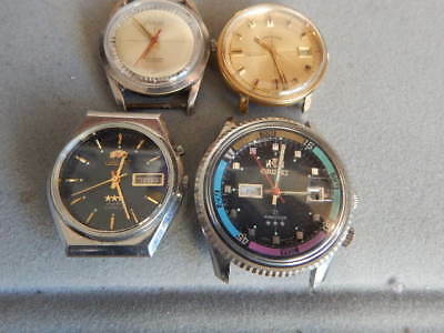 Vintage Lot Of Four (4) Men's Watches-Orient Diver's-Lord Elgin Aquamaster As is