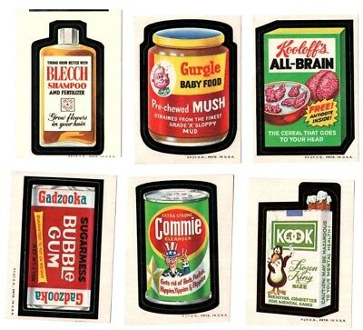 """1973 Wacky Packages Original 2nd Series """"LOT OF SIX"""" Sticker Cards"""