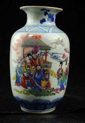 Chinese old porcelain Hand painted famille rose Eight Immortals vase 07 b02