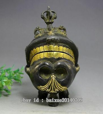 Antique Tibet Bronze Collect Vajra Skull Head Statue Box Incense Burner d02