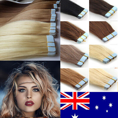 TAPE IN 100% Virgin Remy Human Hair Extensions Platinum Blonde Piano 20/60pcs AU