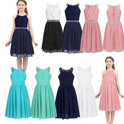 Girls Kid Sequin Lace Floral Dress Party Birthday Casual Chiffon Skater Sundress