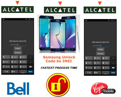 BELL / VIRGIN UNLOCK CODE FOR Alcatel PHONE ANY CANADIAN MODEL