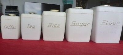 Retro Nally Canister Set - 5 White Canisters With Lids - Good Vintage Condition