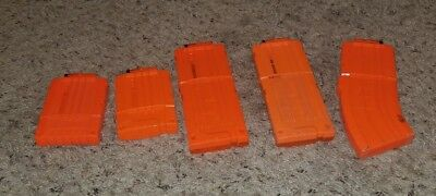 Lot of 5 Used 6 10 12 Round Nerf Brand Magazines Clips Mags orange rifle