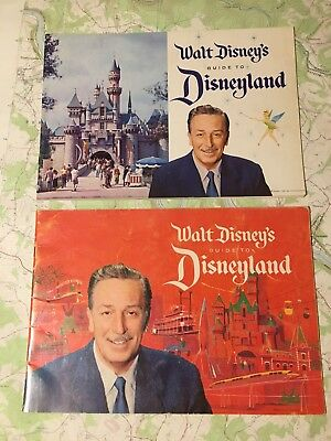 (2x) Walt Disney's Guide to Disneyland - 1958 & 1961 Book / Booklet / Map Vtg!