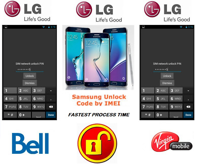 Bell / Virgin Unlock Code For Lg Phone Any Canadian Model
