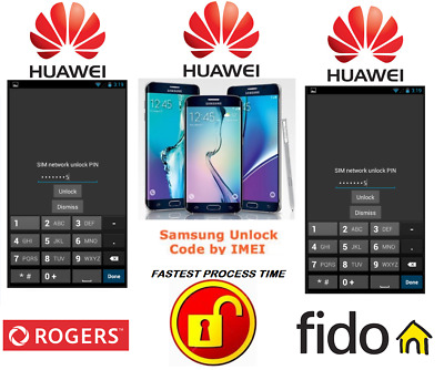 Rogers / Fido Unlock Code For Huawei Phone Any Canadian Model