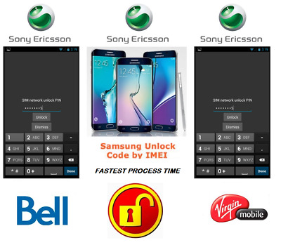Bell / Virgin Unlock Code For Sony Phone Any Canadian Model