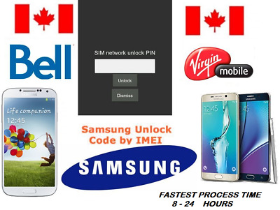 Bell / Virgin  Unlock Code Available for All Samsung Models (S AND NOTE SERIES)