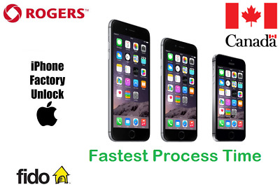 ROGERS /FIDO UNLOCK BY IMEI ALL IPHONE MODELS 4/5/SE/6/6+/6S/6S+/7+8/X,XR,Max,11