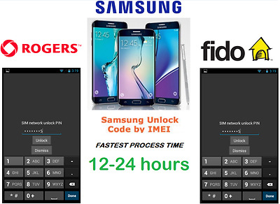 Rogers / Fido Unlock Code Available for All Samsung Models (S,J,NOTE ALL SERIES)