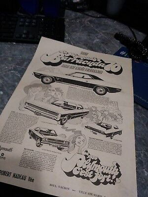 plymouth ad cuda 340 duster roadrunner canadian poster 440 hemi