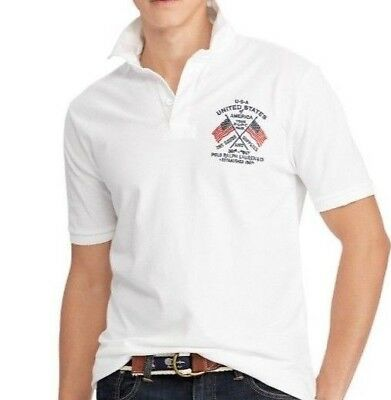 RALPH LAUREN Polo $145 NWT Classic US FLAG White Men's Size XL Rugby Men New