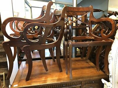 Set Of 4 Scroll Arm Mahogany Regency Reproduction Dining Chairs