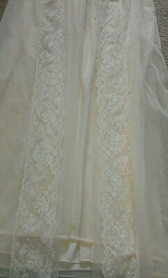 SHADOWLINE VINTAGE Bridal sheer double chiffon lace pearls robe gown peignoir S