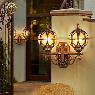 Black/Brass Waterproof Outdoor Wall Lights Sconces with 2 Tea Glass Globe Balls