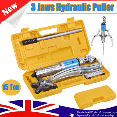 Heavy Duty 15T Hydraulic Bearing Gear Puller Set Separator Hub Tool Kit 3 Jaws