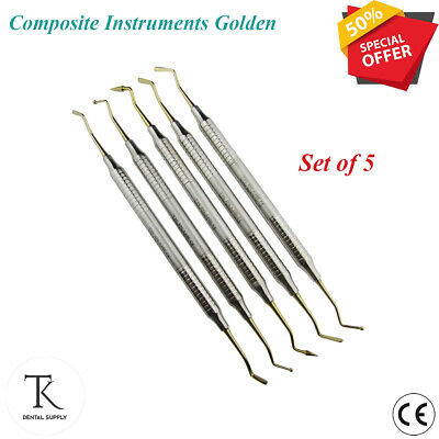 Dental Restorative Instruments Composite Gold Tip Flat Plastic Filling Lab Tools