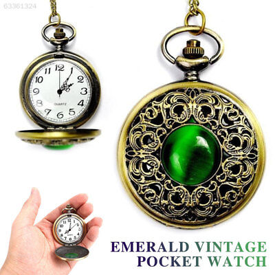 61D8 Pocket Watch Retro Vintage Green Gem Copper Quartz Hanging Chain