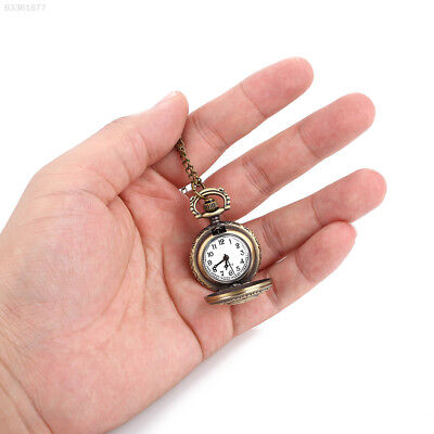 BAB1 Pocket Watch Vintage Retro Rose Flower Antique Hanging Chain Quartz