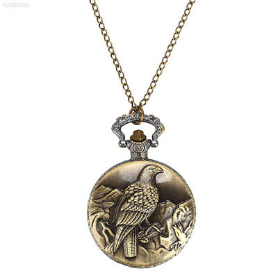 4701 Pocket Watch Retro Vintage Eagle Copper Necklace Chain Hanging Chain