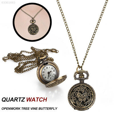 94DA Pocket Watch Vintage Retro Butterfly Hollow Jewelry Hanging Chain