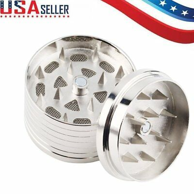 Tobacco Herb Grinder Spice Crusher 4 Piece Metal Stainless Steel MA