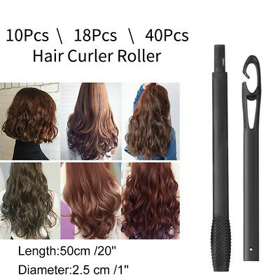 AU 40PCS Magic Hair Curlers Curl Formers Spiral Ringlets Leverage Rollers 40cm