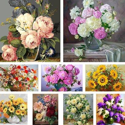 Flower DIY Paint By Numbers Kit Digital Oil Painting On Canvas Floral Home Decor