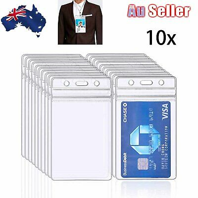 10x Clear Plastic ID CARD HOLDER POUCH PVC Lanyard Work BADGE Zip Lock Quantity