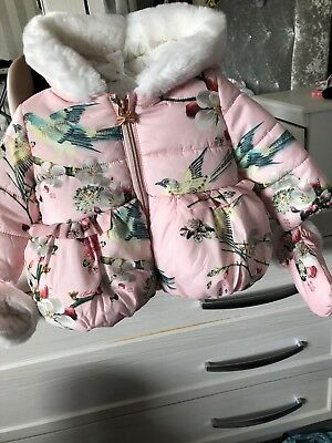 Baby Girls Ted Baker Coat Immaculate 0/3