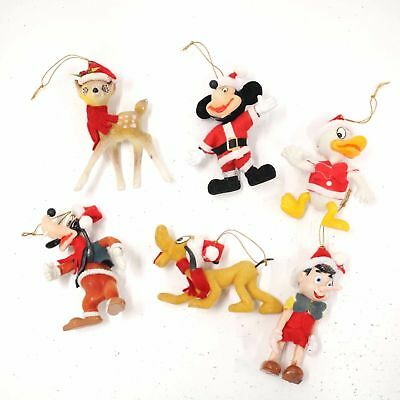 Vintage Disney Christmas Flocked Ornaments Decorations Made In Hong Kong #454
