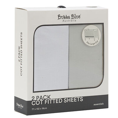 NEW Bubba Blue 2pk Cot Fitted Sheets White & Grey