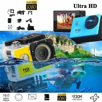 "Camara DEPORTIVA 2.7K Ultra HD 12MP 2"" sumergible con kit de accesorios"