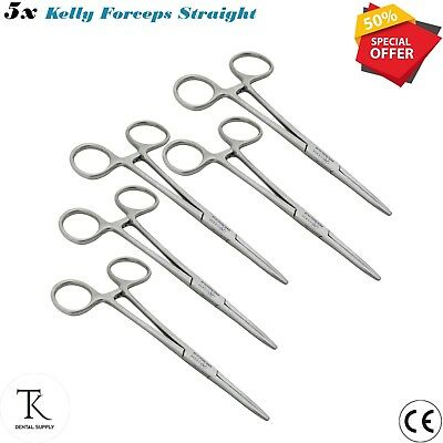 5 x Kelly Forceps Straight Set Artery Hemostatic Forceps Veterinary instruments