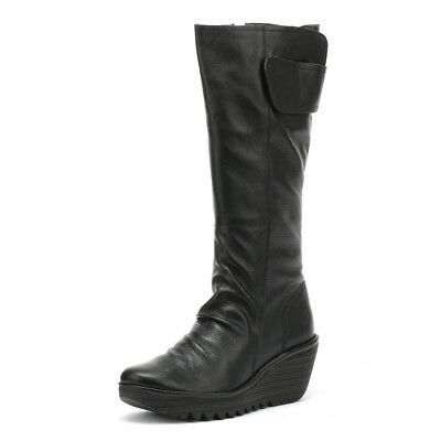 39c24765d1e FLY LONDON YULO Black Mousse Leather Tall Boots New With Box ...