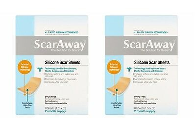 """Lot Of 2 ScarAway 1.5"""" X 3"""" Reusable Washable Silicone Scar Sheets 16 Counts"""