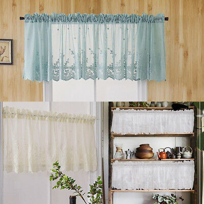 Embroidered Lace Window Voile Valance Room Privacy Tier Half Curtains Panels