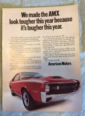 Vintage American Motors Muscle Car Ads - 1966-1970 - AMC - AMX -  Free Shipping