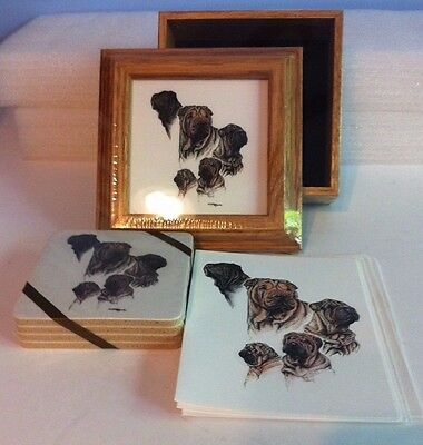 Shar-pei Collectible Dog Framed Picture on Trinket Box Coasters & Note Cards