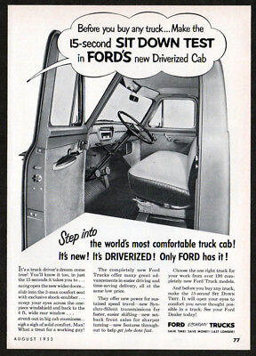 1953 FORD Trucks Vintage Original Print AD - Sit down test in Driverized Cab USA
