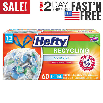 Hefty Recycling Trash / Garbage Bags (Clear, Kitchen Drawstring, 13 Gallon, 60co