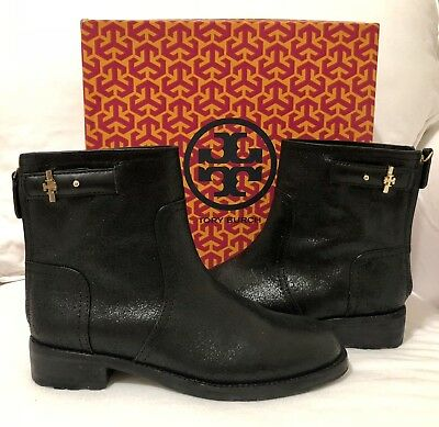 NIB Tory Burch Selena Ankle Boot Black Distressed Suede Size 8
