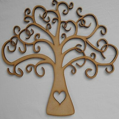 Buy 2 Get 3rd Free 6mm thick Craft Shape Wooden Family Tree 25cm X 25cm