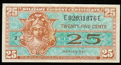 1954 25 Cent Military Payment Certificate  Series 521  VF - XF