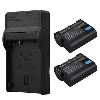 2x 2550mAh EN-EL15 Battery +Charger For Nikon D600 D610 D800 D810 D750 D7000 V1