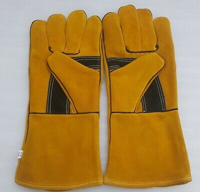"""welders welding gloves gauntlets heat resistant safety leather cat A+ 14"""" length"""