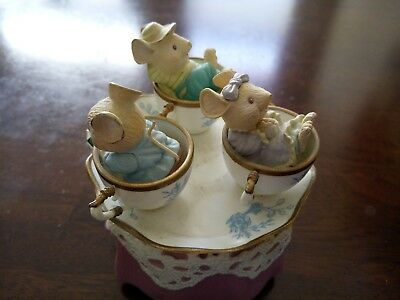 Enesco Music Box Mice In Teacups Love Makes The World Go Round Figurine